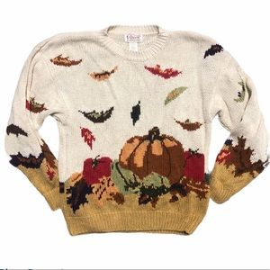 Orvis vintage thick knit pumpkin fall sweater xl